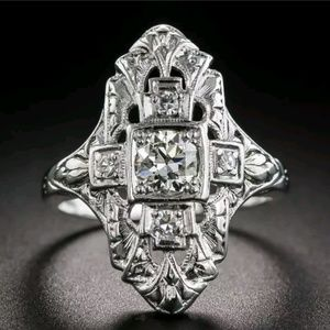 Art deco style cz  925 ring